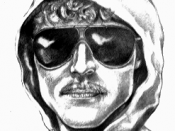Forensic sketch of the Unabomber, commissioned by the FBI, drawn by Jeanne Boylan. This copy was found at the url: http://members.aol.com/alvertc/Sketch.gif. According to Encarta, the drawing was released by the FBI in 1987.
