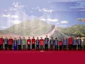 English: SHANGHAI. Chinese President Jiang Zemin announcing a final declaration of the APEC economic leaders. Русский: ШАНХАЙ. Оглашение итоговой декларации лидеров экономик АТЭС Председателем КНР Цзян Цзэминем.