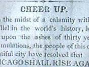 English: Article in the Chicago Tribune after the Great Chicago Fire in 1871. Français : Article dans le Chicago Tribune après le grand incendie de Chicago en 1871.