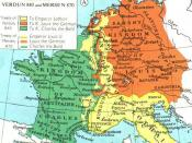 English: The Division of the Carolingian Empire: Verdun 843 and Mersen, 870 (Col)