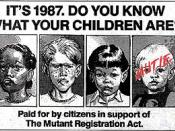 The faux-advertisement for the Mutant Registration Act. The