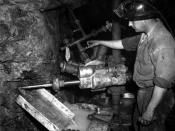 Hard rock mining at the Associated Gold Mine, Kalgoorlie, Australia, 1951