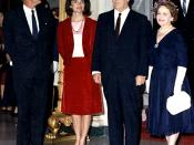 President & First Lady Kennedy with Chief Justice Earl Warren & Mrs. Warren, Judicial reception.