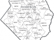 Map of Robeson County, North Carolina, United States with township and municipal boundaries