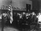 English: Student pledging to the flag, 1899.