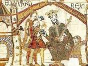 English: Edward the Confessor, King of England 1042-1066, opening scene of Bayeux Tapestry Deutsch: Edward der Bekenner, König von England 1042-1066, Teppich von Bayeux Français : Édouard le Confesseur, roi d'Angleterre (1042-1066), tapisserie de Bayeux