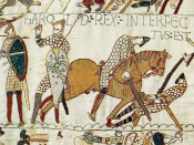English: Harold Godwinson falls at Hastings. Harold was struck in the eye with an arrow (left), slain by a mounted Norman knight (right) or both.