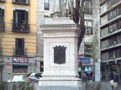 English: Monument to Tirso de Molina (1579-1648) at the Plaza de Tirso de Molina (square) in Madrid (Spain). Made of stone and bronze by Rafael Vela del Castillo and inaugurated in 1943. Español: Monumento a Tirso de Molina (1579-1648) en la Plaza de Tirs
