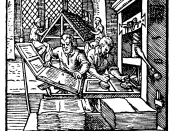 At left in the foreground, a printer removes a printed page from the press. The printer at right is inking the plate. In the background, compositors are using cast type.
