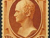 English: US Postage stamp: 1888 issue, Alexander Hamilton, 30c, red-brown