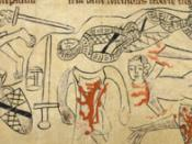 Death and mutilation of Simon de Montfort at the Battle of Evesham. Above Simon is the body of his son Henry.