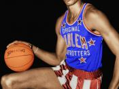 edited (colour) picture Image:Wilt Chamberlain.jpg Wilt Chamberlain, American basketball player wearing uniform of Harlem Globetrotters.