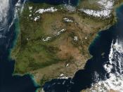 Satellite view of the Iberian Peninsula.