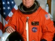 John Herschel Glenn Jr. (born July 18, 1921, in Cambridge, Ohio,) is a former American astronaut, Marine Corps fighter pilot, and United States Senator. He was the third American to fly in space and the first American to orbit the earth. This photo for hi