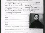Certificate of identity issued to Yee Wee Thing certifying that he is the son of a US citizen, issued Nov. 21, 1916. This was necessary for his immigration from China to the United States.