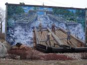 Mural in Pembroke, Ontario, Canada depicting the logging industry.
