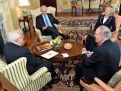 English: Sept. 2: (l-r backs to camera): President Mahmoud Abbas and Special Envoy for Middle East Peace George Mitchell; (l-r facing camera): Prime Minister Benjamin Netanyahu and Secretary Hillary Clinton as they all share a laugh during their meeting a