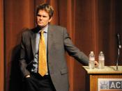 English: Mike German, former FBI agent, now National Security Counsel of the American Civil Liberties Union (ACLU), speaking at Broadway Performance Hall, Seattle, Washington.