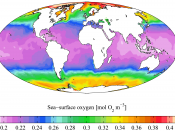 English: Annual mean sea surface dissolved oxygen from the World Ocean Atlas 2005. Dissolved oxygen here is in mmol O 2 m -3 . It is plotted here using a Mollweide projection (using MATLAB and the M_Map package).
