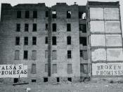 Urban decay. Falsas Promesas Broken Promises, John Fekner, Charlotte Street Stencils, South Bronx, NY 1980. John Fekner