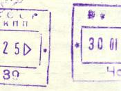 Old USSR passport stamps from 1982 from Chop, now in Ukraine.