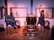 Display of the manufacturing of a Taiko drum