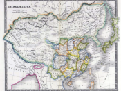 English: China and Japan in 1844, by John Nicaragua Dower. Published in 1844 World Atlas by Henry Teesdale and Co., London. Provinces of China proper are in various colors with
