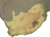 Topographical map of South Africa, continent version