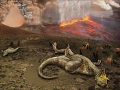 English: extinction of dinosaurs in Deccan Traps in Western Ghats, India. See also Talk:Deccan Traps#Image: artist's rendition of dinosaur extinction.