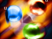 English: Two up quarks and one down quark spinning freely in a particle accelerators stream.