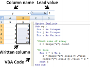 English: Illustration of subroutine in Microsoft Excel that reads the x-column, squares it, and writes the squares into the y-column. All proprietary Microsoft art work has been cropped to leave a generic spreadsheet