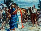 English: Jezabel and Ahab Meeting Elijah in Naboth's Vineyard Giclee. Print by Sir Frank Dicksee.