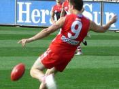 Precise field and goal kicking using the oval shaped ball is the most important skill in Australian rules.
