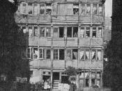 Published in Modern Music and Musicians, University Society, New York, 1918. No. 24 Specksgang, later renumbered to No. 60 Speckstraße, Hamburg, photographed in 1891. Brahms family lived behind the two double windows on the left at first floor level. The