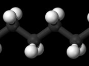 Ball-and-stick model of the tetradecane molecule, an unbranched alkane with 14 carbon atoms.
