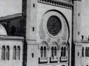 English: A postcard depicting the Oran synagogue.