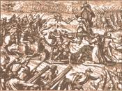 Inca-Spanish confrontation in Cajamarca; there is Emperor Atahuallpa