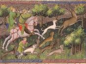 Raches (and a greyhound) pursuing the hart from Livre de la Chasse, a 15th century MS of Gaston Phoebus