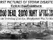 A Herald Examiner headline covering the Great Tri-State Tornado of 1925.