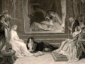 A detail of the engraving of Maclise's 1842 painting The Play-scene in Hamlet, portraying the moment when the guilt of Claudius is revealed.