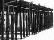 The security cages at the United States Army Disciplinary Training Center in Pisa, Italy, where the poet Ezra Pound was kept for around three weeks in May/June 1945 after being arrested for treason, and where he said he had a mental breakdown.