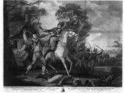 English: Engraving depicting Continental Army soldier Peter Francisco in a fight with men from the cavalry of Banastre Tarleton in Amelia (now Nottoway) County, Virginia, July 1781.