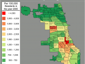 Map of violent crimes in 2005 in Chicago community areas per 100,000 residents