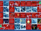 English: Imaginary photo-illustrated board game based on Hamlet: King of Denmark. Board squares refer to key incidents in play. Educational tool to interest students in the tragedy by William Shakespeare.