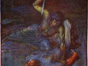 An illustration of Grendel's mother by J.R. Skelton from Stories of Beowulf (1908) described as a