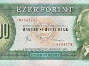 1000 Hungarian forint (1983) - obverse. Picture: Béla Bartók, composer.