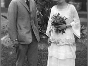 Wedding photo of Harry and Bess Truman, June 28, 1919. They are in the backyard of 219 N. Delaware, Independence, Missouri.