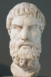 Portrait of Epicurus, founder of the Epicurean school. Roman copy after a lost Hellenistic original.