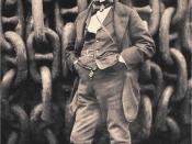 English: Isambard Kingdom Brunel against the launching chains of the Great Eastern at Millwall in 1857, photo by Robert Howlett (1831–1858). Deutsch: Isambard Kingdom Brunel vor der aufgewickelten Ankerkette der Great Eastern, 1857 fotografiert von Robert