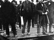 English: Isambard Kingdom Brunel at the Launching of the SS Great Eastern (sometimes called Leviathan) with John Scott Russell and Lord Derby. Source: http://www.essential-architecture.com/ARCHITECT/ARCH-Brunel.htm